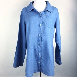 Flax long sleeve soft blue button front top Size S